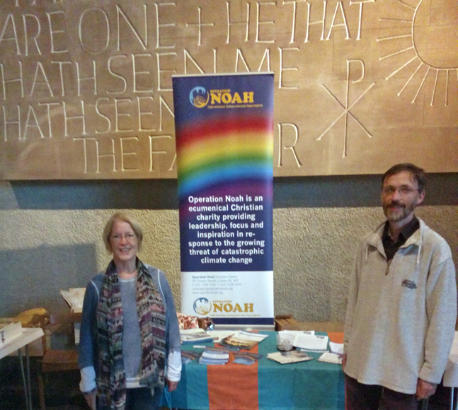Jean Leston and Alex Mabbs at the Operation Noah stand at the 'Reconciling a Wounded Planet' conference.