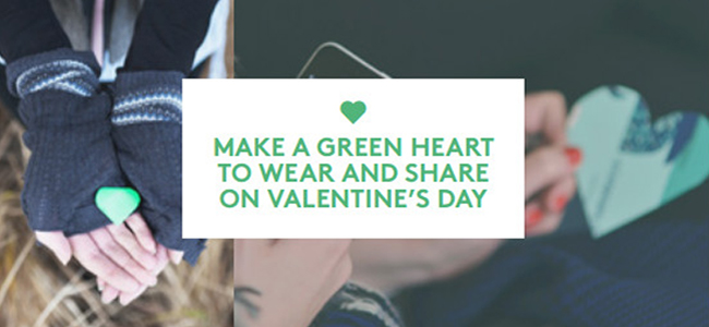 """Make a green heart to wear and share on Valentine's Day."""