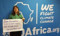 Revd Dr Rachel Mash, of the Anglican Church of Southern Africa, supporting the climate change divestment campaign