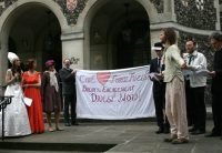 Christian Climate Action's mock wedding.