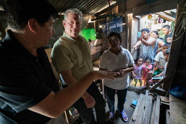 Film still with Al Gore.