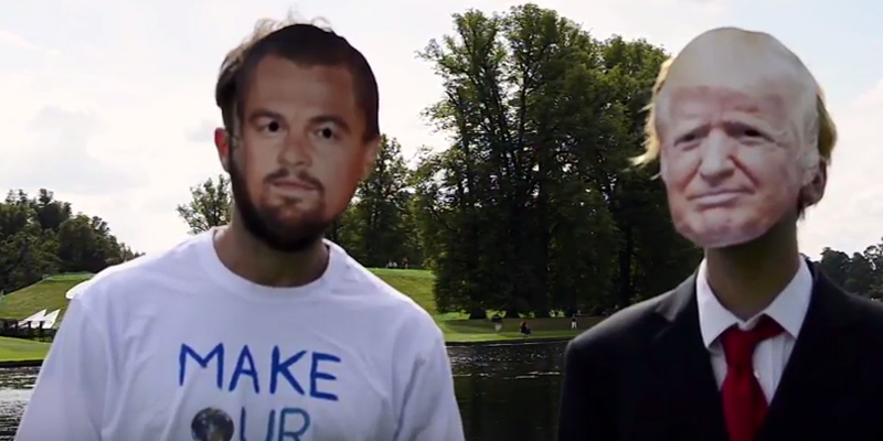 Actors wearing Donald Trump and Leonardo diCaprio masks.