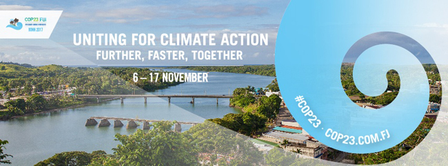 "COP23 banner ""Uniting for climate action"""