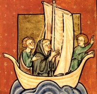Medieval manuscript showing St Cuthbert in a boat.