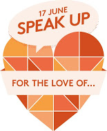 """Speak up"" logo."