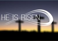 """Crosses on a hill, with the words """"He is risen""""."""