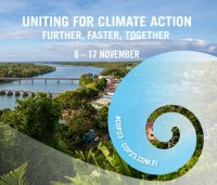 "COP23 poster: ""Uniting for climate action""."