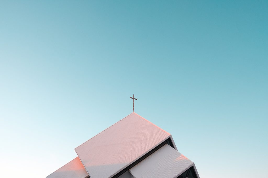 Image of cross on top of church by Akira Hojo